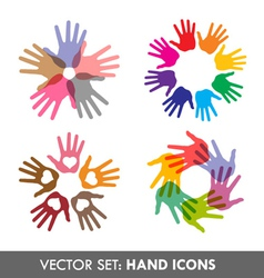 Collection of hand icons vector image vector image