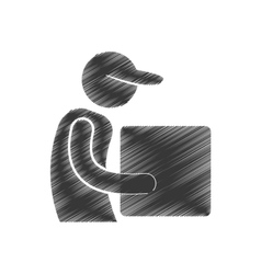 Drawing delivery man cardboard box with cap figure vector