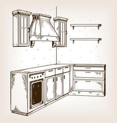 kitchen furniture engraving vector image