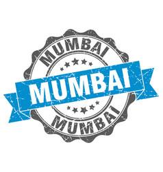 mumbai round ribbon seal vector image vector image