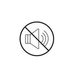 no noise line icon no sound prohibited sign vector image