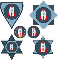 set of chevrons with a spaceship vector image vector image