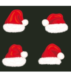 Set of holiday hats of Santa Claus vector image vector image
