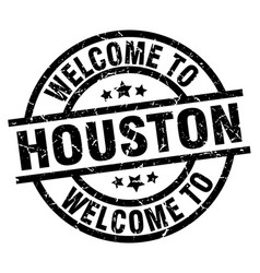 welcome to houston black stamp vector image vector image