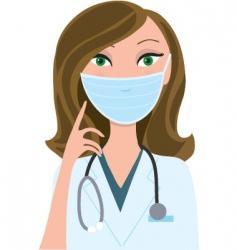 woman medical mask vector image vector image