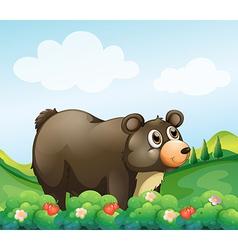 A big brown bear in the garden vector image