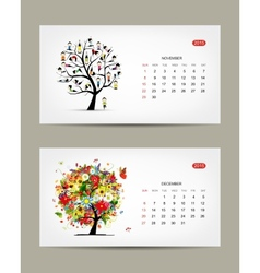 Calendar 2015 november and december months Art vector image vector image