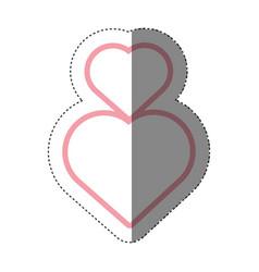 hearts love decoration shadow vector image vector image