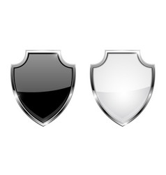 metal 3d shields black and white glass icons with vector image
