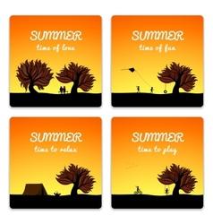 Poster set summer landscape style vector image