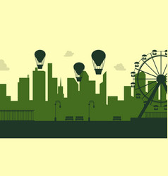 silhouette amusement park scenery collection vector image vector image