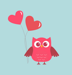 cute owl with pink hearts-ballons vector image vector image