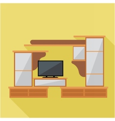 Digital brown cabinet furniture and tv set vector image vector image