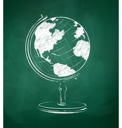 Globe drawn on green chalkboard vector image vector image