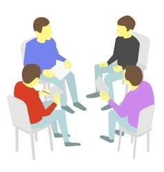 Talks Group of business Four people team meeting vector image vector image