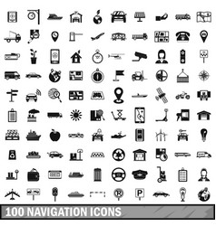 100 navigation icons set simple style vector