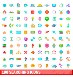 100 searching icons set cartoon style vector image vector image