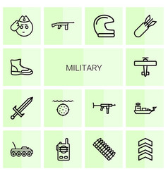 14 military icons vector