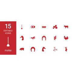 15 farm icons vector