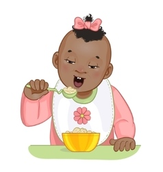 African american baby girl with spoon and plate vector image