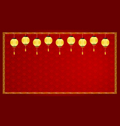 background template with golden lanterns vector image