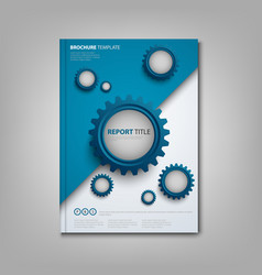 brochures book or flyer with abstract blue gears vector image