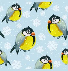 bullfinch birds tits seamless pattern vector image