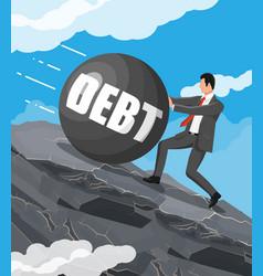 Businessman on mountain pushing big debt weight vector
