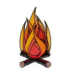 Camping bonfire isolated vector