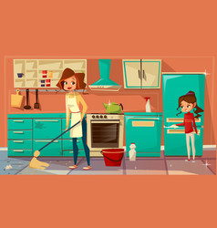 Cartoon mother daughter cleaning together vector
