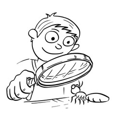 Cartoon of boy with hand magnifying glass looking vector