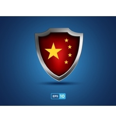 china shield on blue background vector image