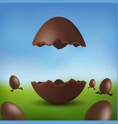 Chocolate egg 3d happy easter broken brown easter vector