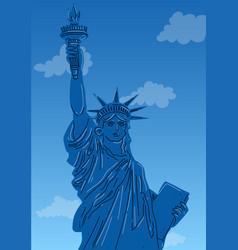 Close up statue liberty new york city vector