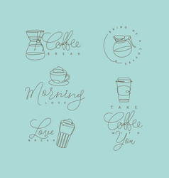 coffee pen line elements turquoise vector image