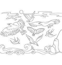 Coloring book cartoon for children above the sea vector
