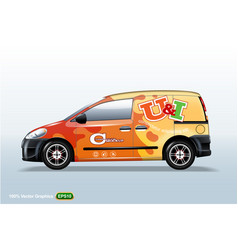 commercial vehicle-van template with advertising vector image