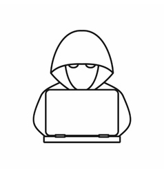 Computer hacker with laptop icon outline style vector image