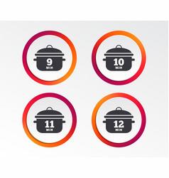 Cooking pan icons boil nine twelve minutes vector