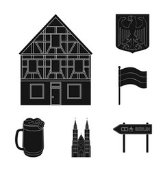 country germany black icons in set collection for vector image