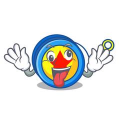 Crazy yoyo mascot cartoon style vector