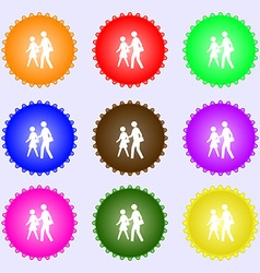 crosswalk icon sign A set of nine different vector image