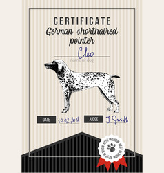 dog show certificate with german shorthaired vector image
