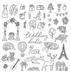 doodle wedding icon set with decorative elements vector image