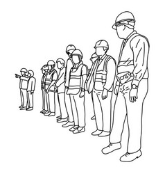 engineers with hard hat in construction site vector image