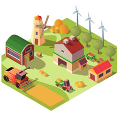 farmyard with buildings and machines vector image