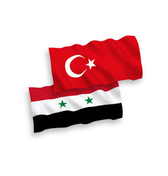 flags of turkey and syria on a white background vector image