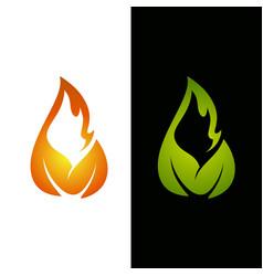 Flame leaf logo template vector