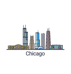 Flat line chicago banner vector