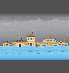 Flood disaster flooding water in city street vector
